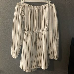 White and black stripped romper